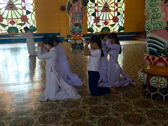 Worshippers inside the Cao Dai Great Temple in Tay Ninh