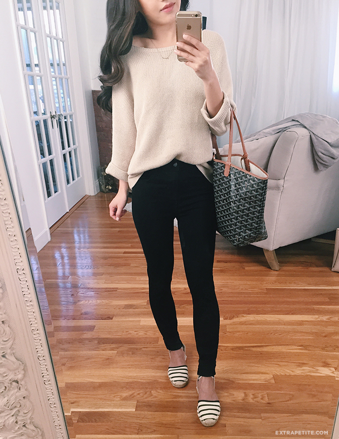 The Perfect Slouchy Sweater Flattering Black Jeans