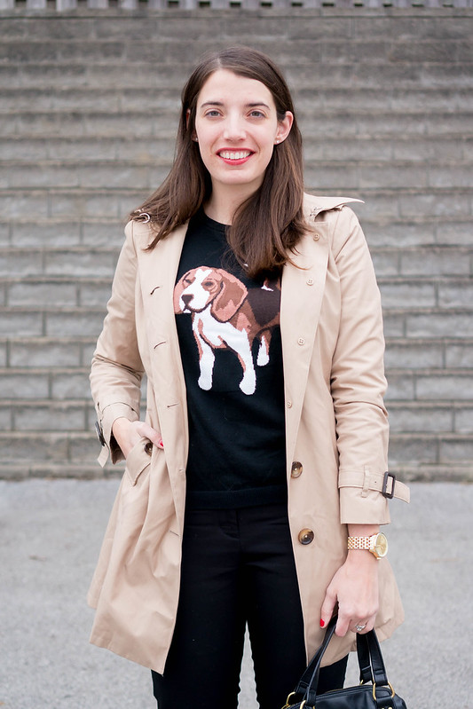 animal graphic sweater + black ankle pants + trench coat + red ballet flats | Style On Target
