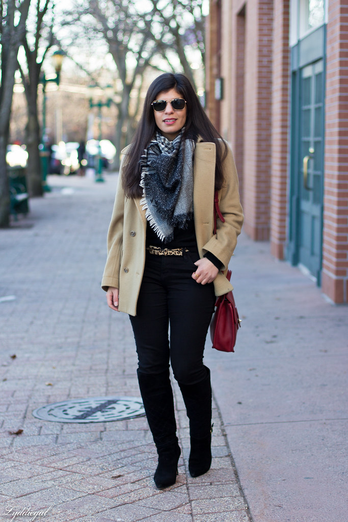 black sweater, camel coat, red coach bag, black boots.jpg