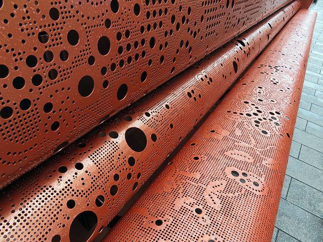 A laser-cut metal bench in Rotterdam Holland