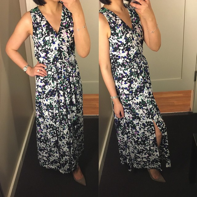 Mixed-Floral V-neck Maxi Dress, size 0P