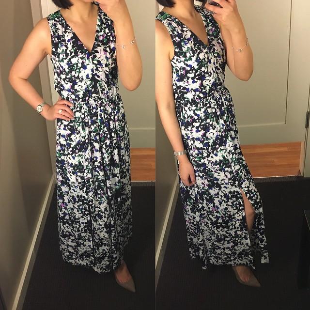 Mixed-Floral V-neck Maxi Dress, size 0P