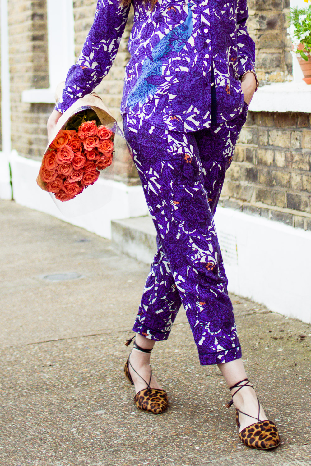 Vivienne trouser and shirt co-ord peacock print and leopard flats