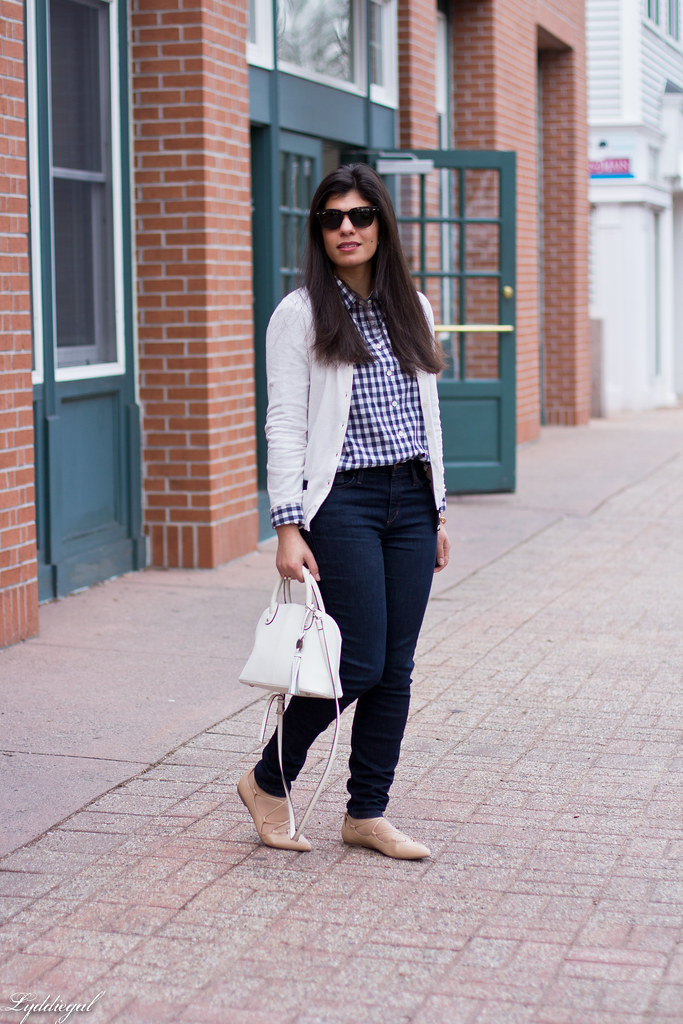 gingham shirt, white cardigan, nude laceup flats-2.jpg