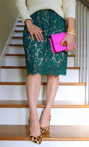 green lace, ivory knits