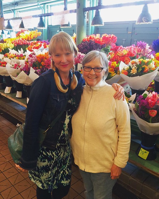 With my mother-in-law at Pike Place. 💐
