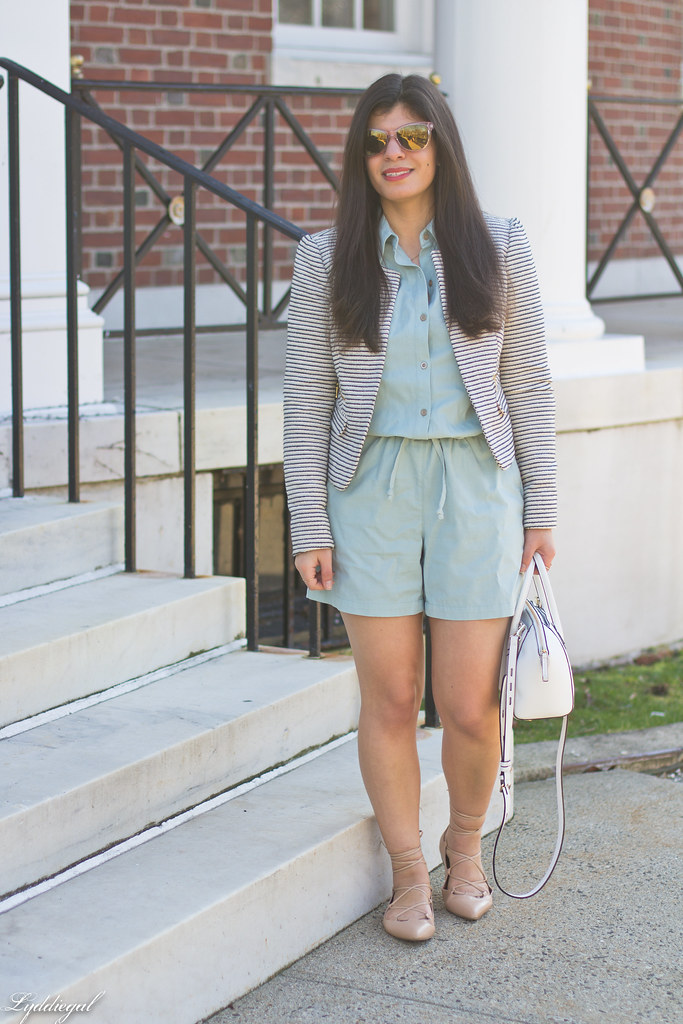 mint romper, striped blazer, lace up flats, white bag.jpg