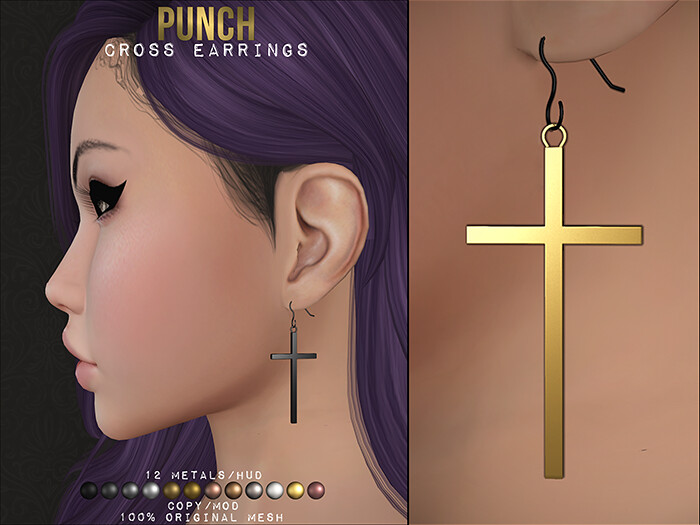 PUNCH / Cross Earrings ♥ Free ♥