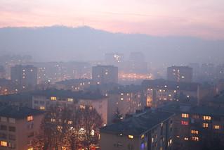 Smog sunset