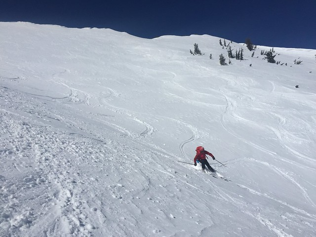 Skiing down Tamarack