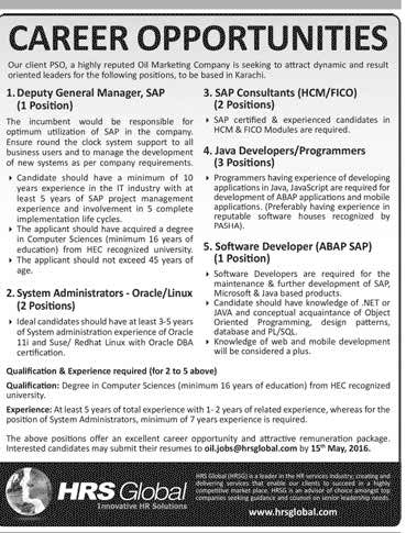 HRS Global Career Opportunitity for PSO Pakistan
