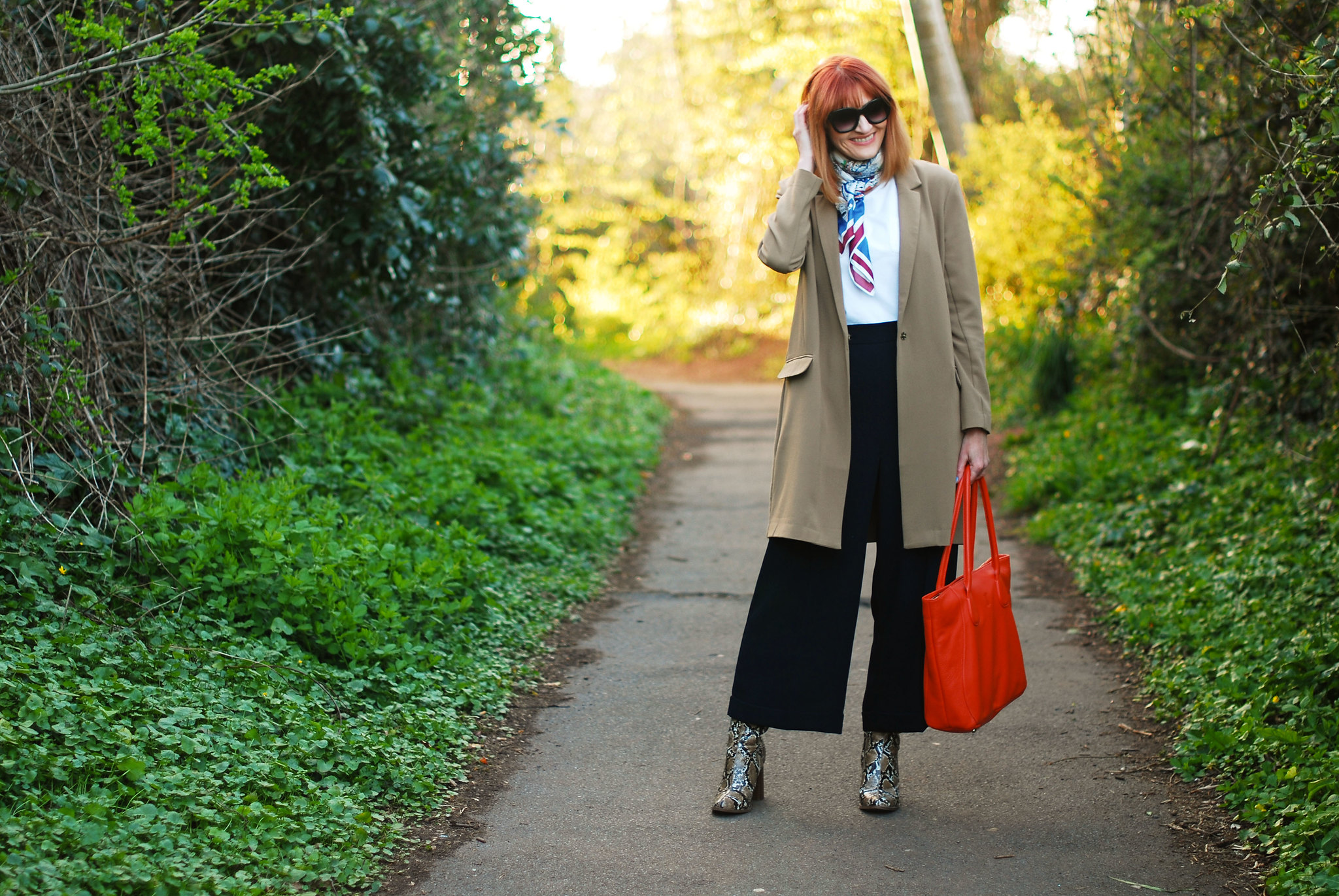 SS16 Smart style: Longline blazer with M&S Archive by Alexa culottes, neck scarf, snakeskin boots, orange tote | Not Dressed As Lamb