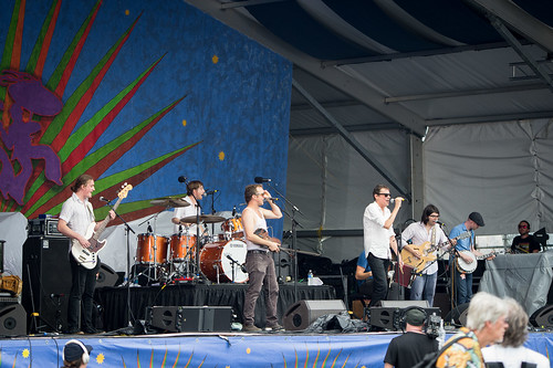 The Lost Bayou Ramblers featuring Spider Stacy at Jazz Fest 2016 Day 4.  Photo by Kate Gegenheimer