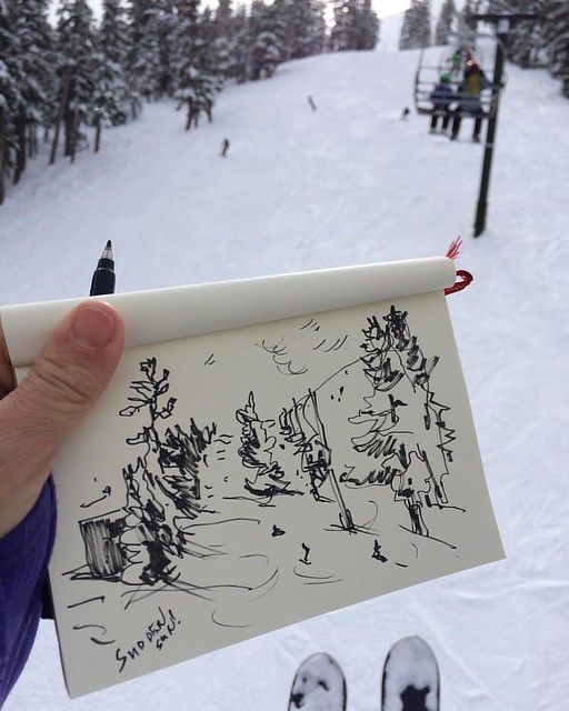 Sketching on the ski lift #sketchingwhileskiing #sketchbook #skiing
