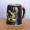 Vintage Mexican Tlaquepaque Black Pottery Hand Painted Mug