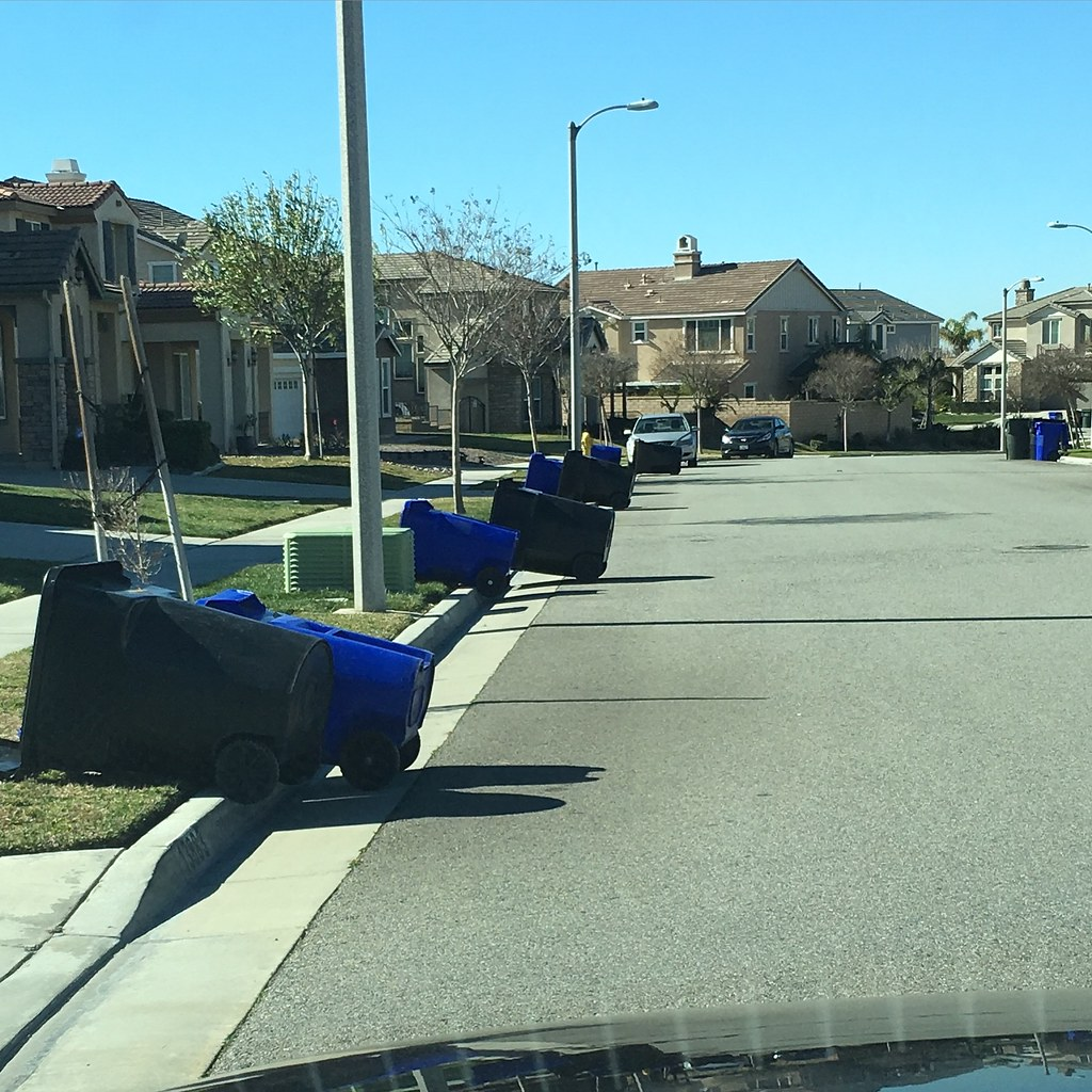 Garbage cans blown over by wind