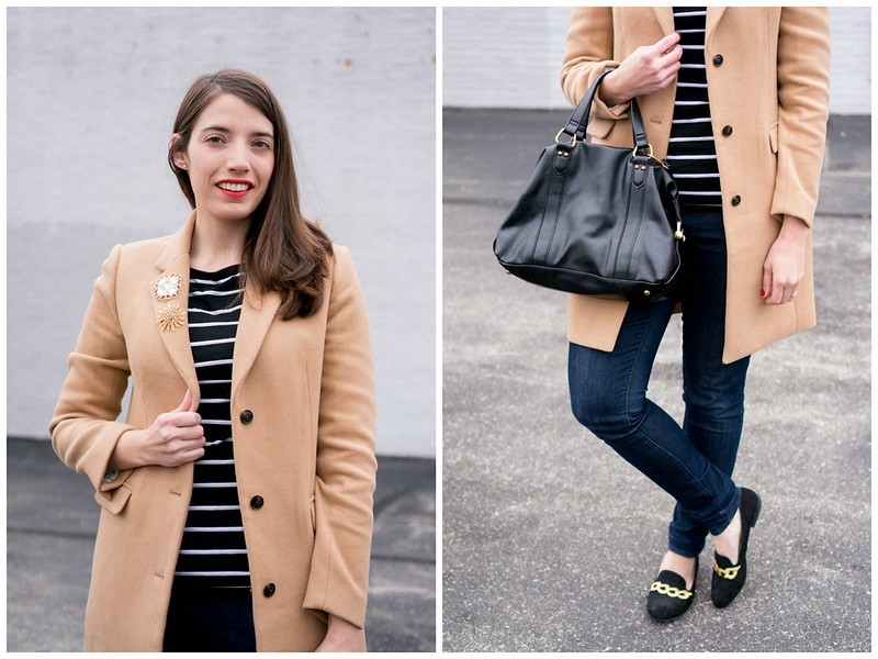 stripes + camel coat + jeans + brooches + loafers Style On Target