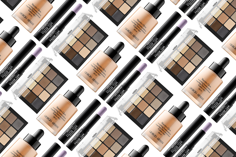 Giorgio Armani Maestro Glow Nourishing Fusion Makeup, BareMinerals Well-Rested® CC Face Primer, Viseart Eyeshadow & Eyebrow Palette