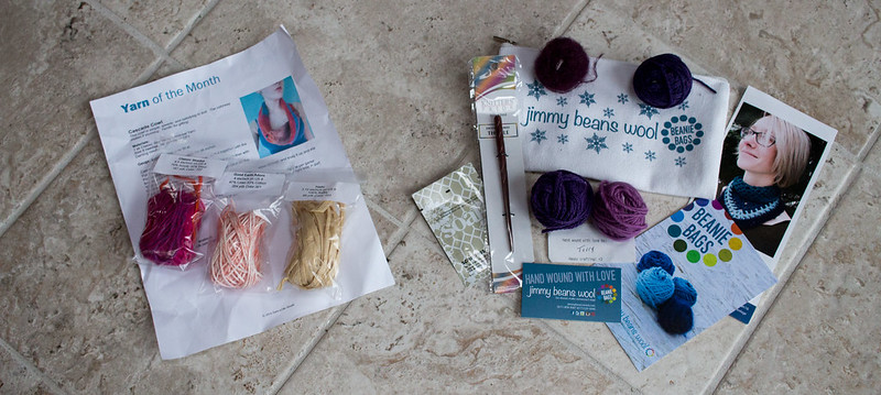 Yarn Subscription preview, January 2016 (Yarn of the Month and Jimmy Beans Beanie Bags)