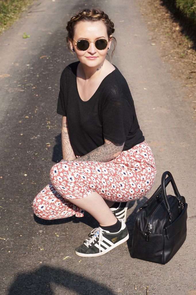 marc b,marc b bags,marc b gemma bag,outfit,ootd,floral trousers, adidas gazelle, plait.hair braid, spring outfit,style blogger,katelouiseblog,