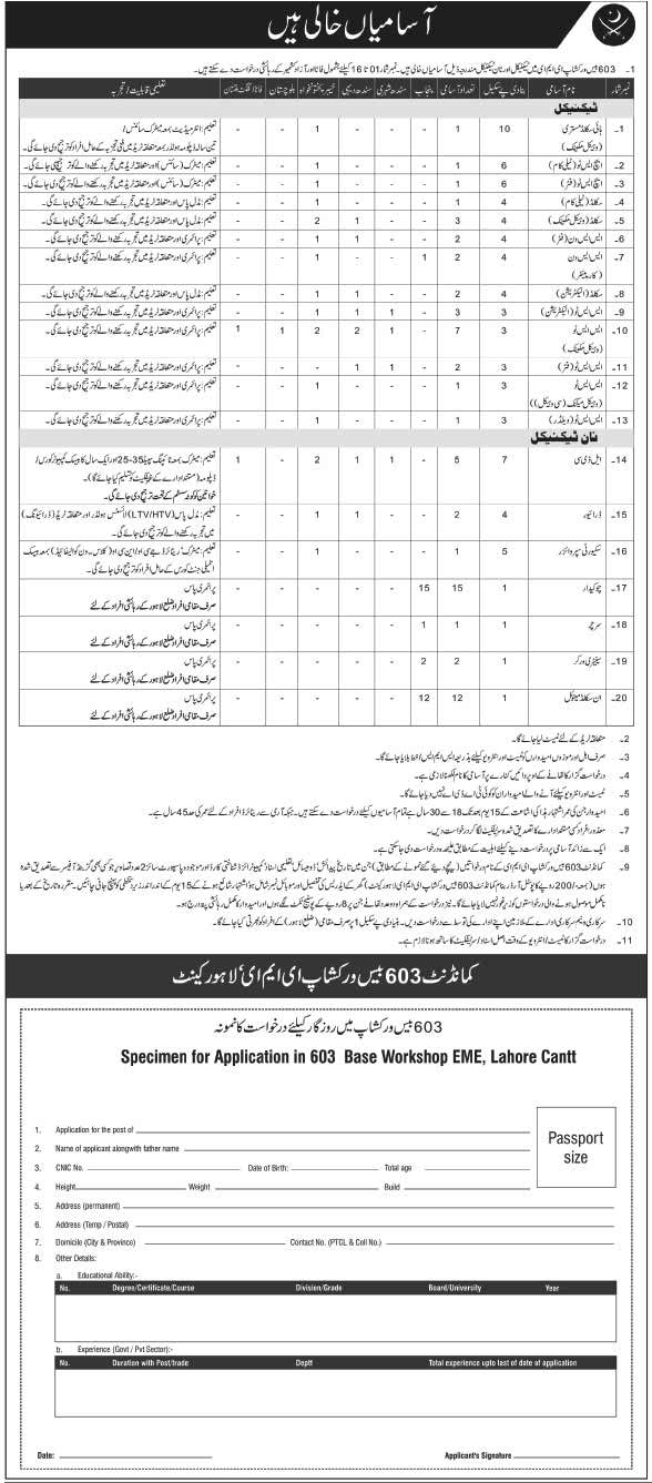 603 Workshop Pak Army Jobs 2016