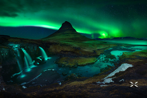 Northern Lights. Mt. Kirkjufell - Iceland.