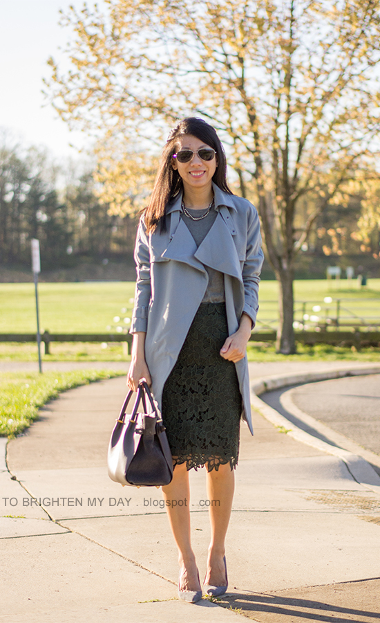 drape trench, gray tee, dark green lace skirt, gray suede pumps