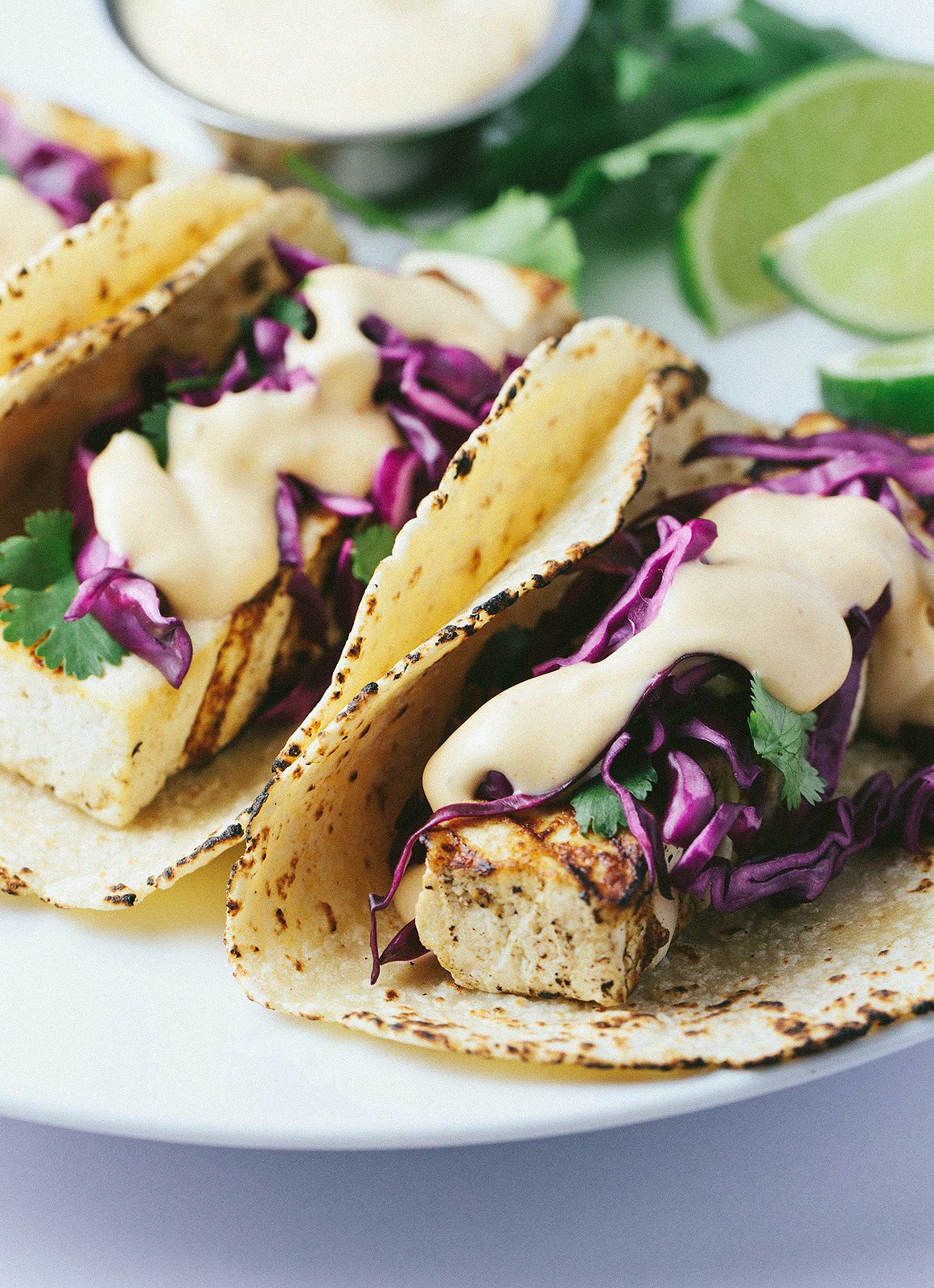 GRILLED BAHA TOFU TACOS + RED CABBAGE SLAW