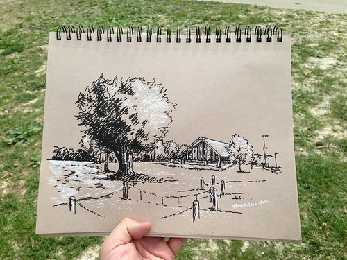 Sketching the boathouse at Lake Springfield Park