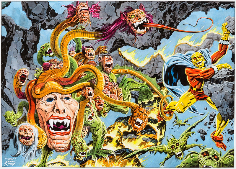 "Giorgio Comolo - Painting based on Jack Kirby's ""The Demon"" issue 14 double page spread, 2002"