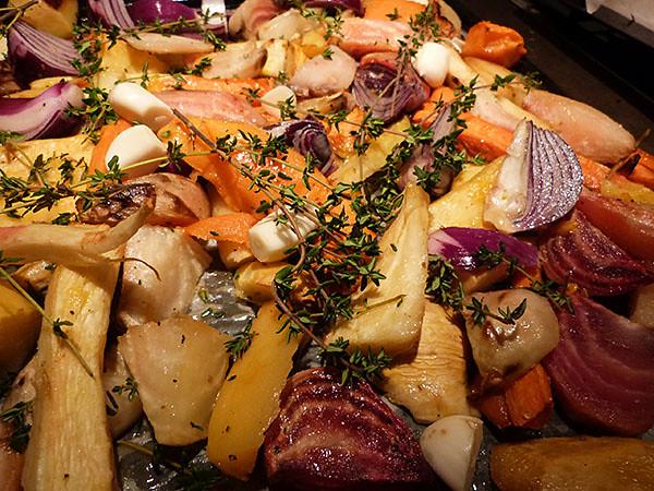 plaques de légumes rôtis