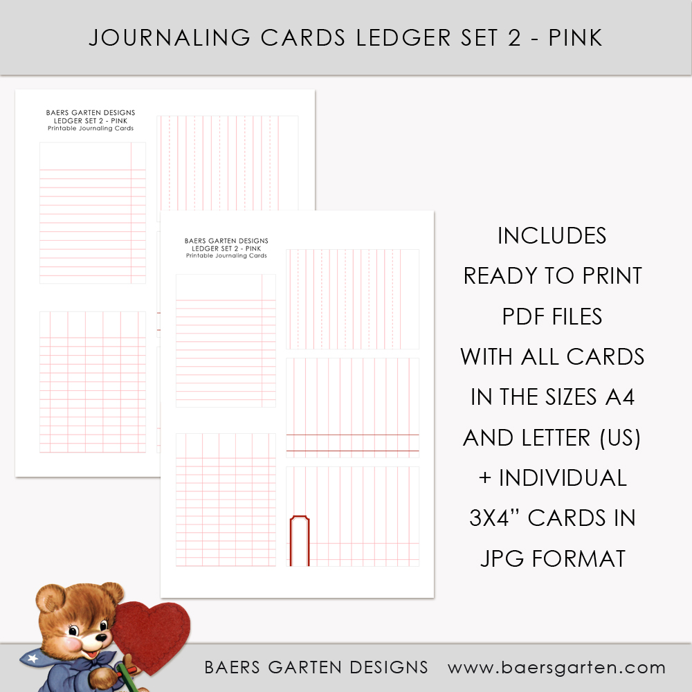 Ledger printable journaling cards