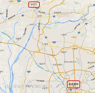 2016.1金華山、岐阜と名古屋の地図