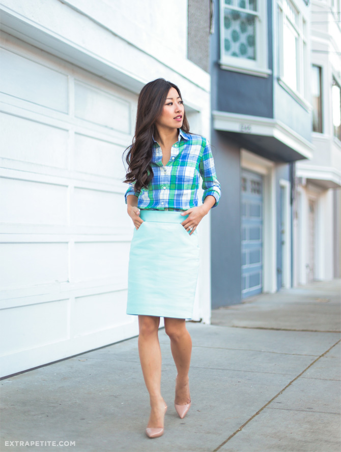 jcrew turquoise office outfit spring style