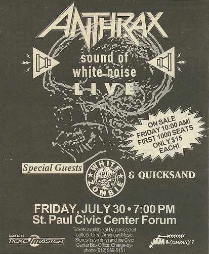 07/30/93 Anthrax/ White Zombie/ Quicksand @ Roy Wilkins Auditorium, St. Paul, MN