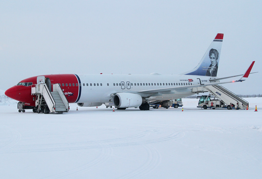 Parked at the snow covered Ramp at Kittilä KTT airport. Outside temperature is -35°C