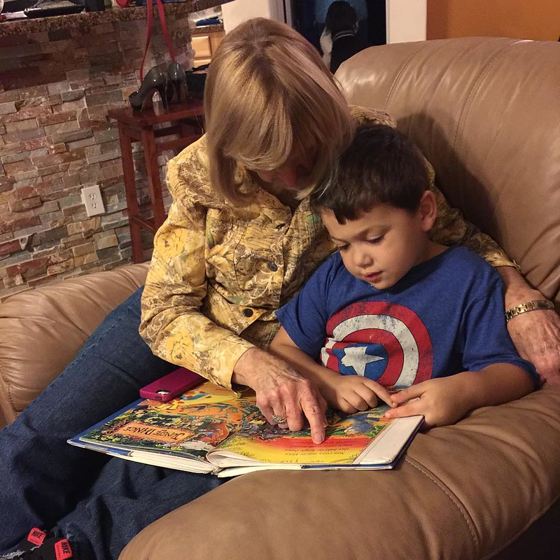 Reading with Teta! So impressed with how well Aaron is picking up reading - I think he's picked it up even faster than Emma did! #proudmommy