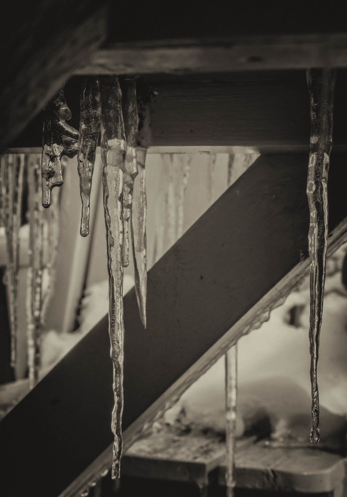 icicles under the picnic table