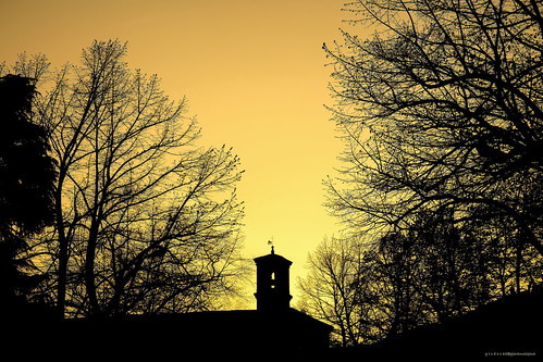 sunset sky italy tree church silhouettes goldenhour cesena