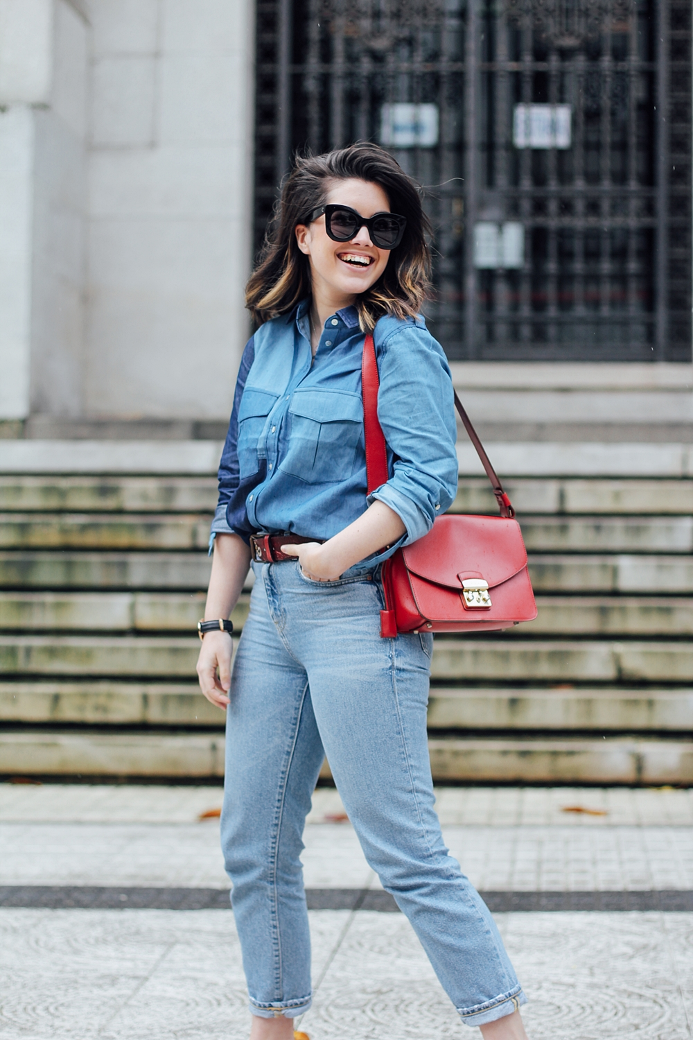 total look denim ties and heels patchwork blouse with furla metropolis bag and gucci loafers myblueberrynightsblog