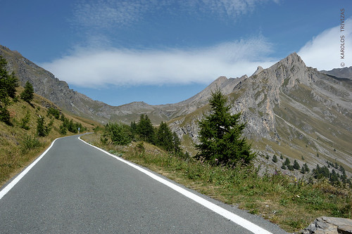 road italy mountain clouds rocks pass peak piemonte summit asphalt cuneo col coniferous slopes scenicroad firtrees chianale cottianalps