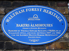 Photo of Bakers Almshouses, London and Thomas Edward Knightly blue plaque