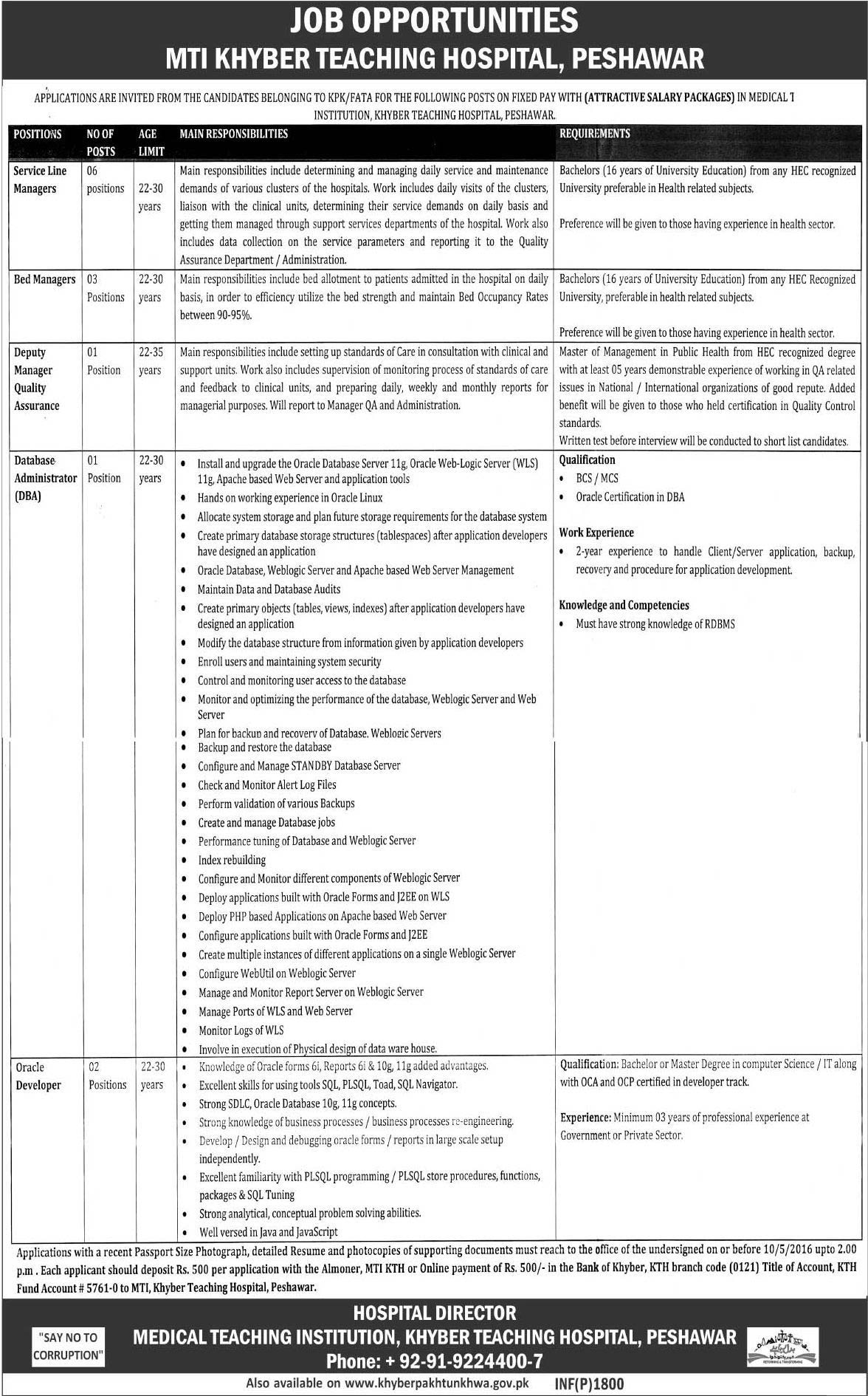 Khyber Teaching Hospital Peshawar Jobs 2016