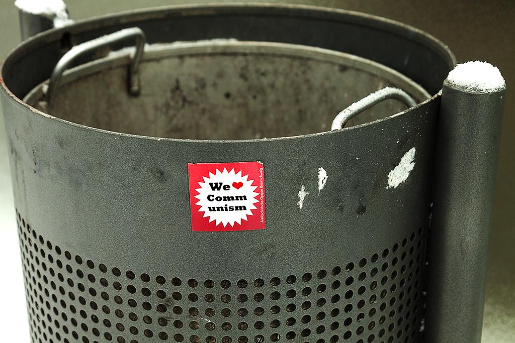 We luv Communism on trash can--Leipzig