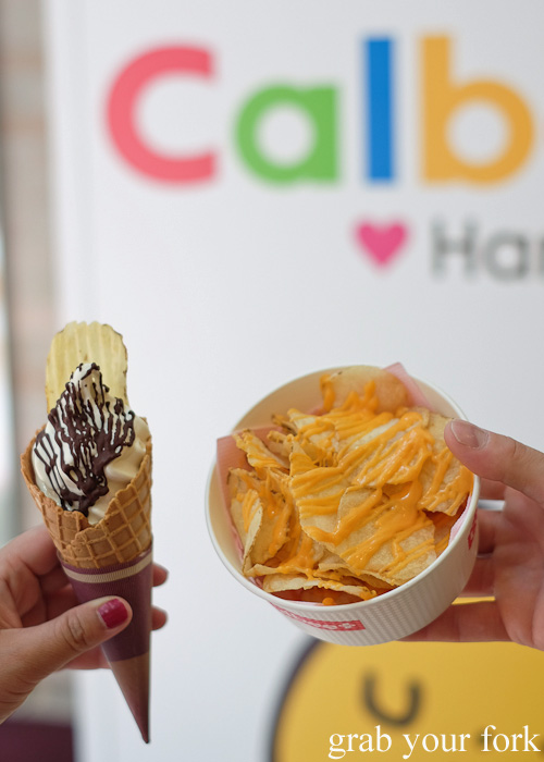 Hokkaido soft serve with ROYCE chocolate and potato chips with double cheese at Calbee+ in Harajuku, Tokyo