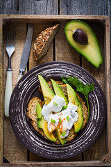 Avocado and poached egg on whole wheat toast