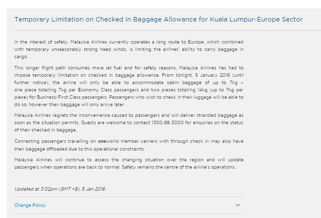 malaysia airlines statement