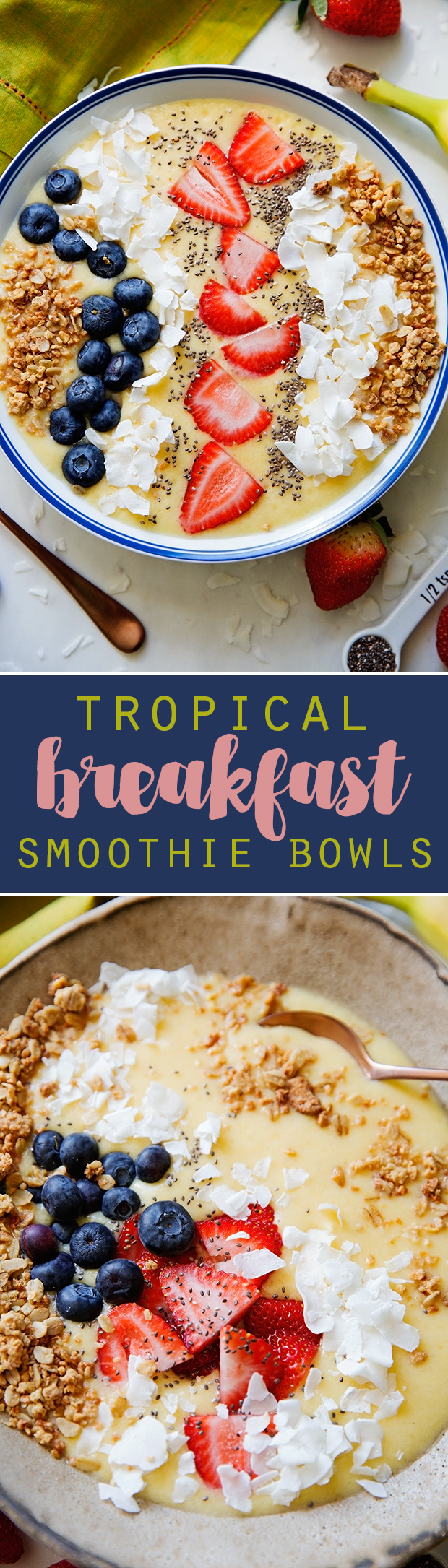 Tropical Breakfast Smoothie Bowls - Loaded with nutrition and easy to make! #smoothie #smoothiebowl #tropicalsmoothie | Littlespicejar.com