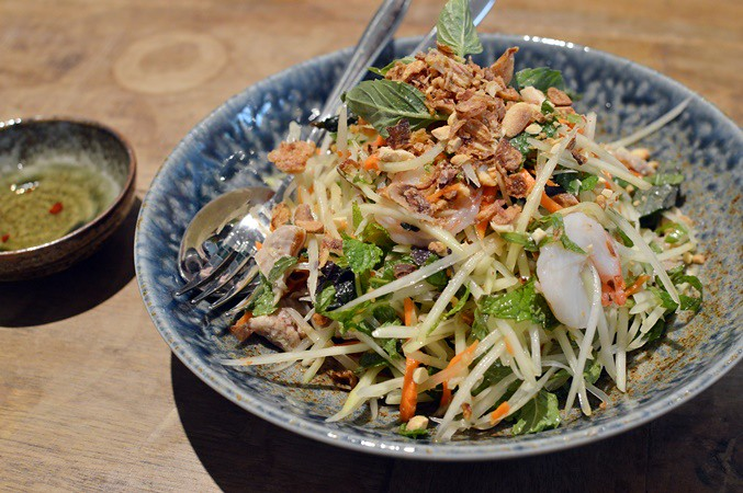 Pork, prawn, papaya & herbs salad